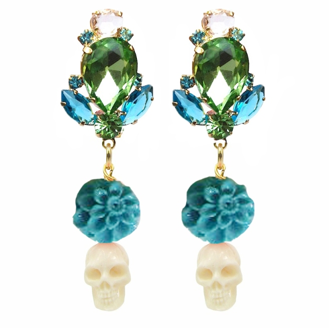Colourful statement earrings with crystals, embellished with turquoise coral pressed dahlias and white skulls, hand-carved from bone. Earrings are dipped in gold for luxurious rich finish.