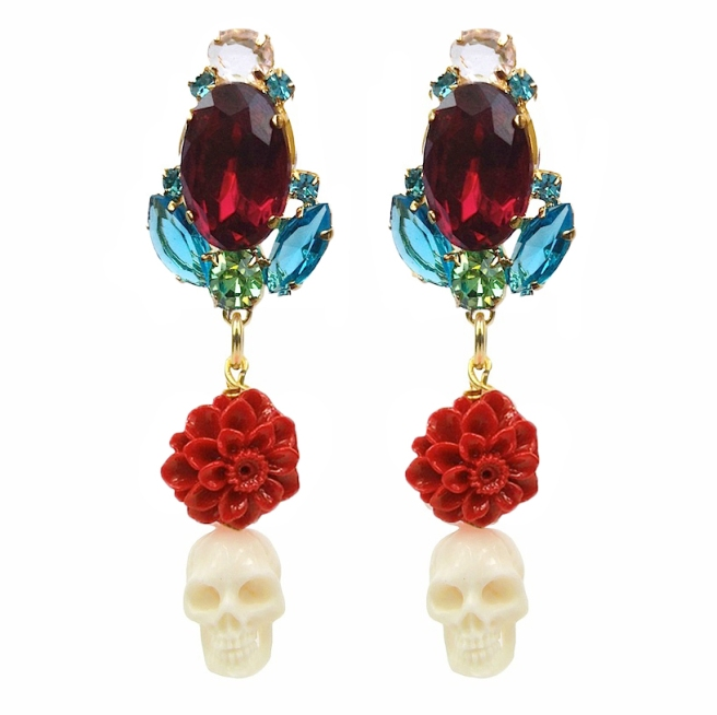 Colourful statement earrings with crystals, embellished with red coral pressed dahlias and white skulls, hand-carved from bone. Earrings are dipped in gold for luxurious rich finish.