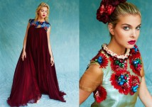 Kit Magazine July issue - a model on the right is wearing Jolita Jewellery's Paris statement necklace, made with red crystals and a thick silk braid in cream and red