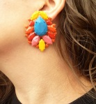Colourful Madrid statement earrings dipped in gold and hand-painted in orange red, pastel blue, pastel pink and orange. Made for pierced ears.