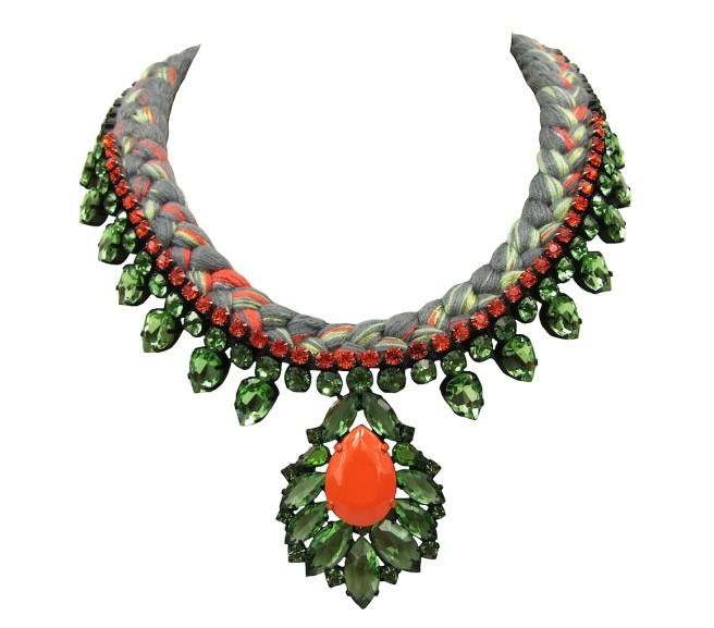 Madrid statement necklace is made with a charcoal silk braid, mixing in a touch of chartreuse, orange and metallic green silks. The necklace is embellished with a row of small crystals in orange and adorned with a beautiful green crystal necklace.