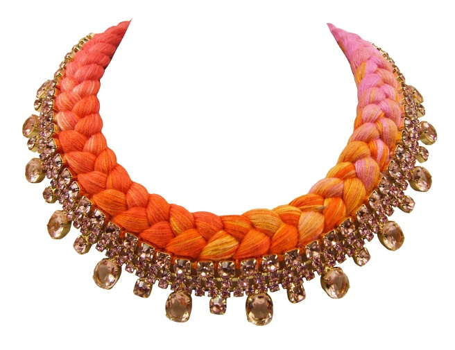 Braided collar style Prague statement necklace made with pink bohemian style rhinestones and silk braid in dip-dyed fuchsia, yellow, bright orange and salmon red. Crystals are dipped in gold.