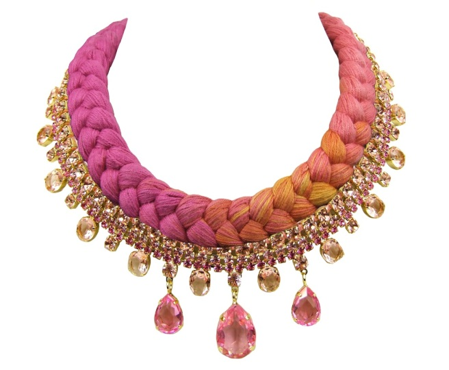Braided statement necklace made with triple-dyed silk braid in fuchsia, salmon pink and a touch of yellow and pink crystals, dipped in gold.