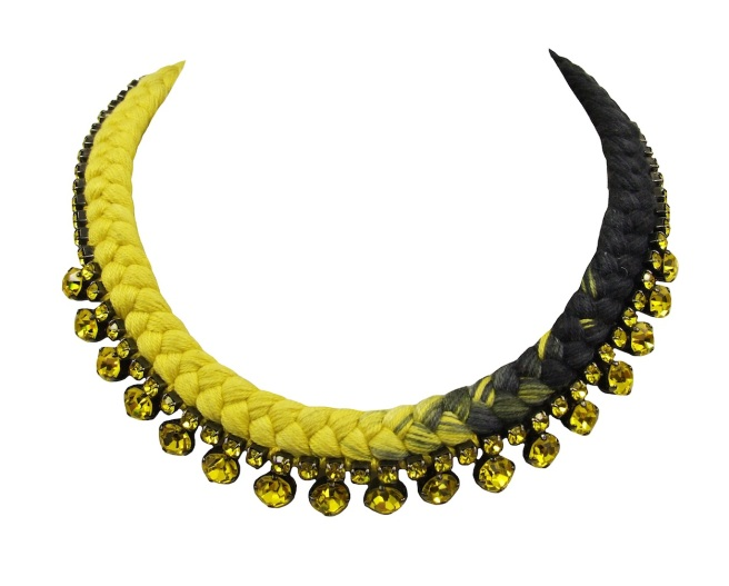 This beautiful handmade statement necklace is made with a dip-dyed silk braid in yellow and dark charcoal, which is embellished with citrine yellow Swarovski crystals.