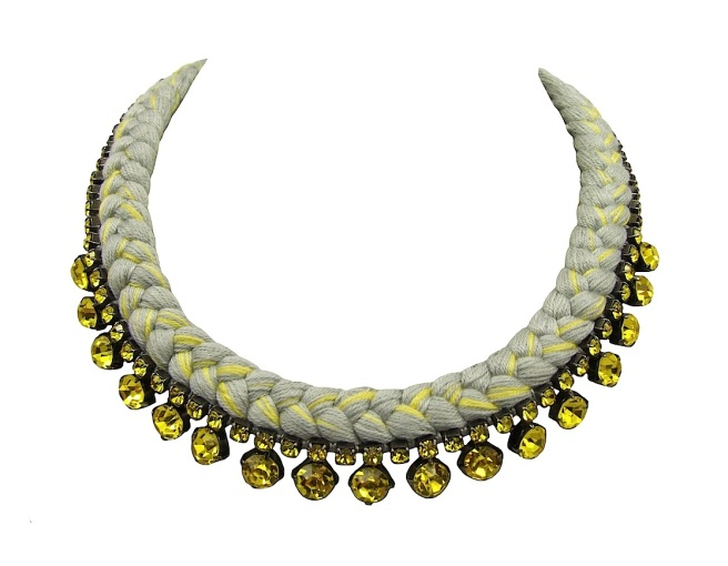 This beautiful handmade statement necklace is made with grey and canary yellow silk braid and citrine yellow Swarovski crystals.