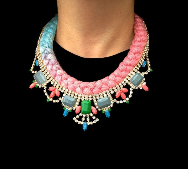 This beautiful handmade statement necklace is braided with a one-of-a-kind dip-dyed silk braid, hand-dyed by the designer in his London studio. The silk braid is embellished with dipped in gold clear crystal necklace, hand-painted in soft pastels.