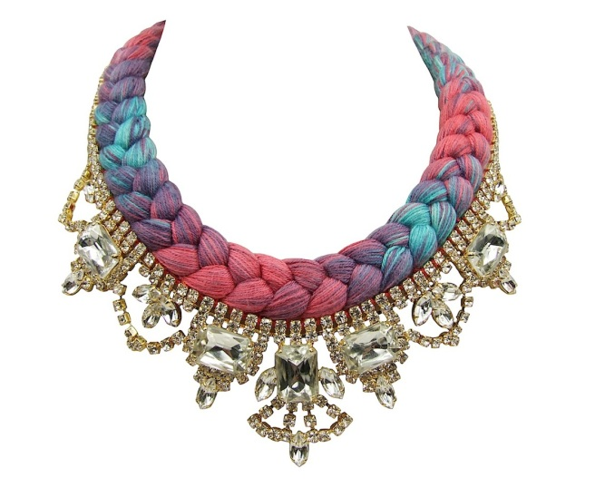 This beautiful handmade statement necklace is made with a colourful silk braid. Silk was hand-dyed by the designer in his London studio, using a complex dying and spalshing with colours technique. The braid is embellished with dipped in gold clear crystals.