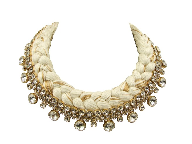 Seychelles statement collar made with clear rhinestones and white silk, mixing in a touch of gold