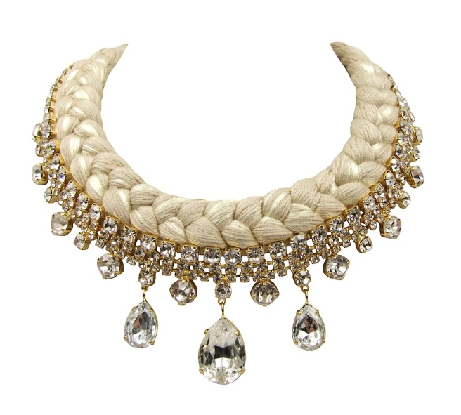 Seychelles statement collar made with clear rhinestones and nude silk, mixing in a touch of champagne