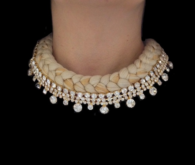 Seychelles statement collar made with clear rhinestones and nude silk, mixing in a touch of gold