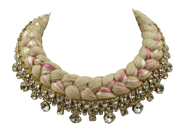 Seychelles statement collar made with clear rhinestones and nude silk, mixing in a touch of pink and champagne