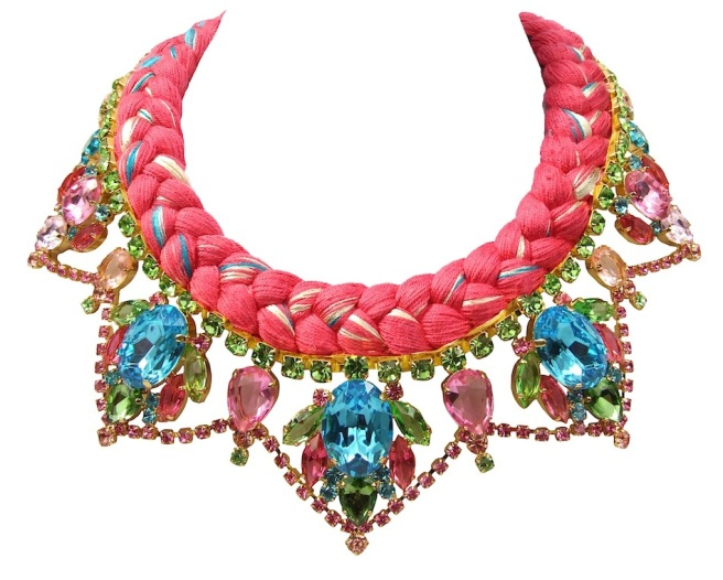 A bright colourful statement necklace made with dipped in gold crystals and silk braid in vivid crimson mixing in a touch of neon green, blue, orange and yellow.