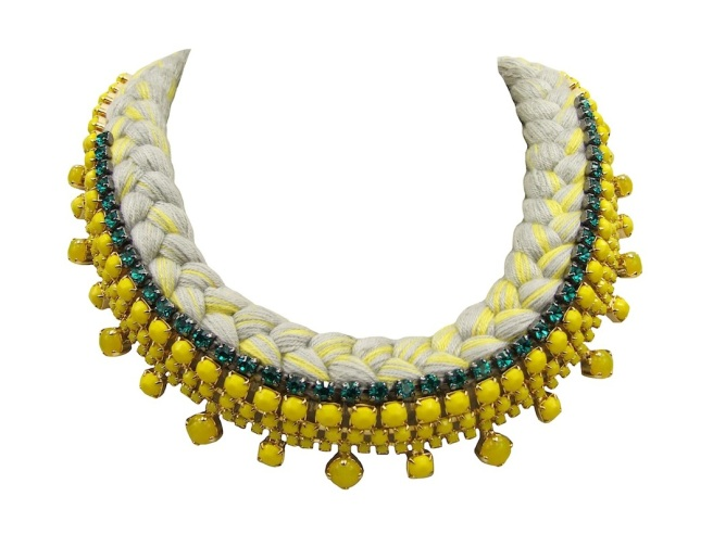 Braided collar style statement necklace made with opaque yellow bohemian style rhinestones dipped in gold and a grey silk braid, mixing a touch of canary yellow. The silk collar is also embellished with a row of turquoise crystals.