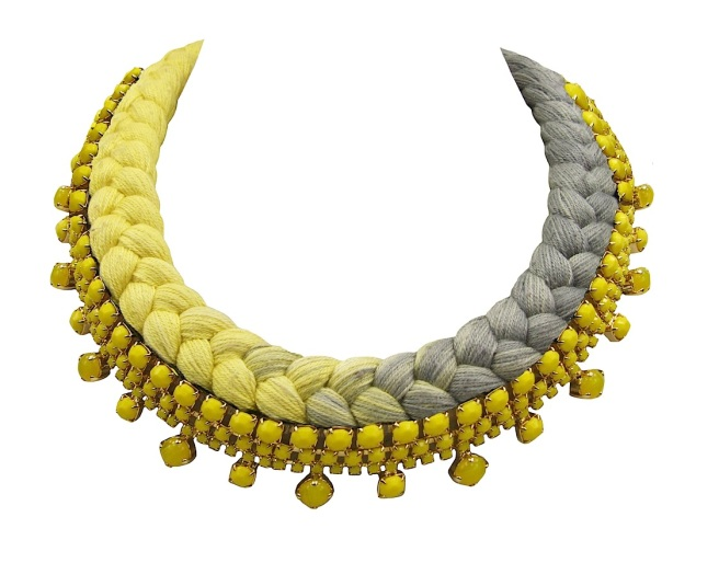 Braided collar style statement necklace made with gold-plated opaque yellow bohemian style rhinestones and dip-dyed silk braid in yellow and charcoal