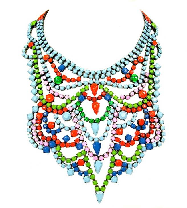 Colourful bib-style Carnival statement necklace by Jolita Jewellery, hand-painted in an array of colours.