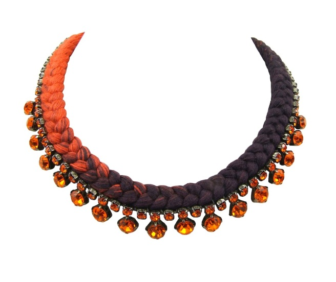 This beautiful handmade statement necklace is made with a dip-dyed silk braid in charcoal and orange, which is embellished with orange crystals.