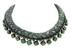 This beautiful handmade statement necklace by Jolita Jewellery is made with charcoal and chartreuse silk braid and opaque green Swarovski crystals.