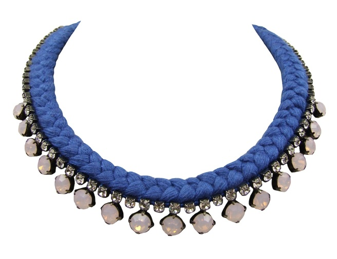 This beautiful handmade statement necklace by Jolita Jewellery is made with blue silk braid and opaque pink Swarovski crystals.