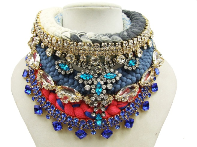 Colourful Jolita Jewellery statement necklace made with braided silk and crystals