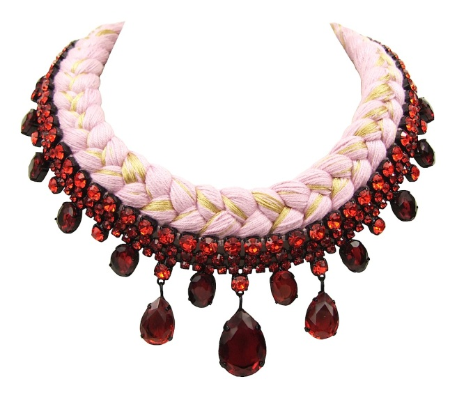 Braided statement necklace made with red bohemian style rhinestones and pink silk, mixing in a touch of gold