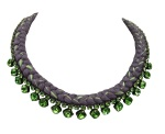 This beautiful handmade statement necklace by Jolita Jewellery is made with charcoal and chartreuse silk braid and green Swarovski crystals.