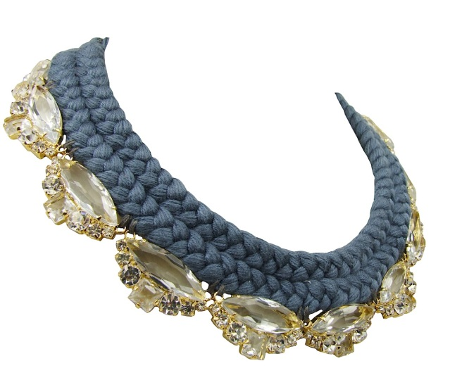 This beautiful Paris statement necklace is made with a charcoal double collar silk braid and clear crystals dipped in gold for that extra luxury.