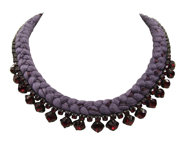 This beautiful handmade statement necklace by Jolita Jewellery is made with maroon silk braid and red Swarovski crystals.