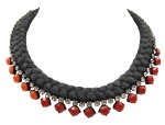 This beautiful handmade statement necklace is made with a charcoal silk braid and clear Swarovski crystals, bigger of which are hand-painted in red and orange.