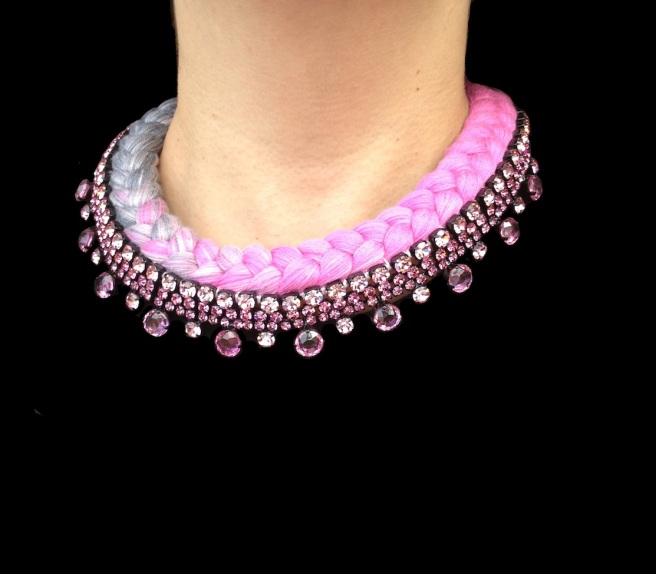 Braided collar style statement necklace made with dip-dyed silk braid in pink and charcoal, embellished with pink crystals.