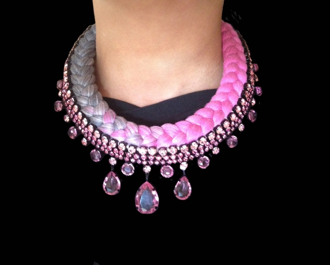 Braided statement necklace made with dip-dyed silk braid in pink and charcoal, embellished with pink crystals.