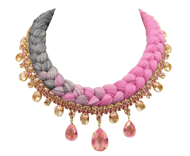 Braided statement necklace made with dip-dyed silk braid in pink and charcoal, embellished with pink crystals, dipped in gold.