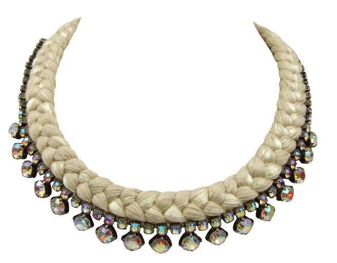 This beautiful handmade statement necklace by Jolita Jewellery is made with nude  silk braid and Swarovski crystals.