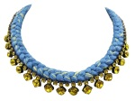 This beautiful handmade statement necklace is made with blue and canary yellow silk braid and citrine yellow Swarovski crystals.