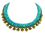This beautiful handmade statement necklace is made with turquoise and canary yellow silk braid and citrine yellow Swarovski crystals.
