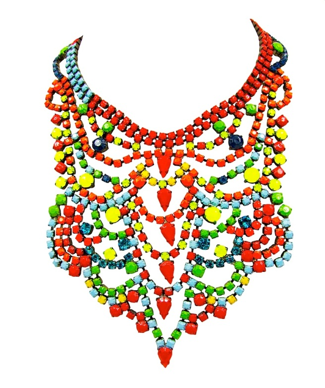 Colourful bib-style Salvador statement necklace by Jolita Jewellery, hand-painted in an array of neon colours.