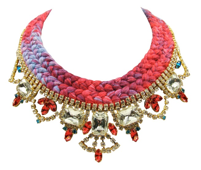 This luxury handmade statement necklace is made with a double collar silk braid in raspberry red and lilac. Silk was hand-dyed by the designer in his London studio, using a complex dying and splashing with colours technique. The braid is embellished with dipped in gold clear crystals, some of which are hand-painted by the designer.