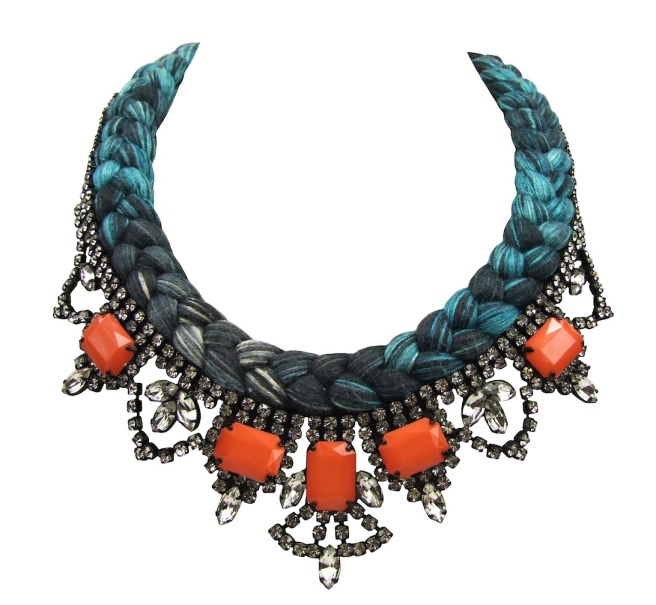 This beautiful handmade statement necklace is made with a colourful silk braid. Silk was hand-dyed by Jolita Jewellery designer in his London studio, using a complex dying and splashing with colours technique. The braid is embellished clear crystals, some of which have been replaced with opaque orange ones to add more colour.