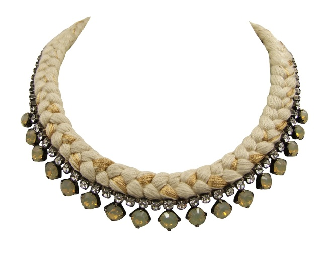 This beautiful handmade statement necklace by Jolita Jewellery is made with nude silk braid, mixing in a touch of gold, and opaque Swarovski crystals.