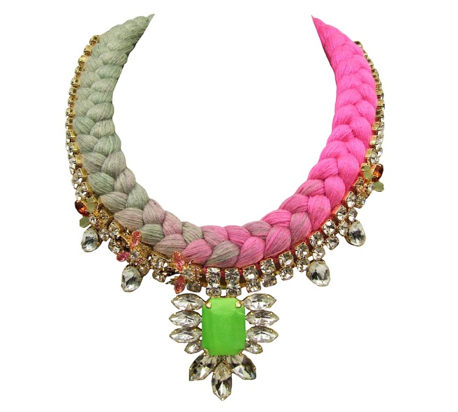 Colourful Shanghai statement necklace by Jolita Jewellery hand-made with a dip-dyed silk braid in pastel green and fuchsia pink, adorned with clear crystal necklace dipped in gold. The silk braid is embellished with small luxury bugs dipped in 18k gold. The centre stone of the necklaces is covered in hand-dyed lime green silk.