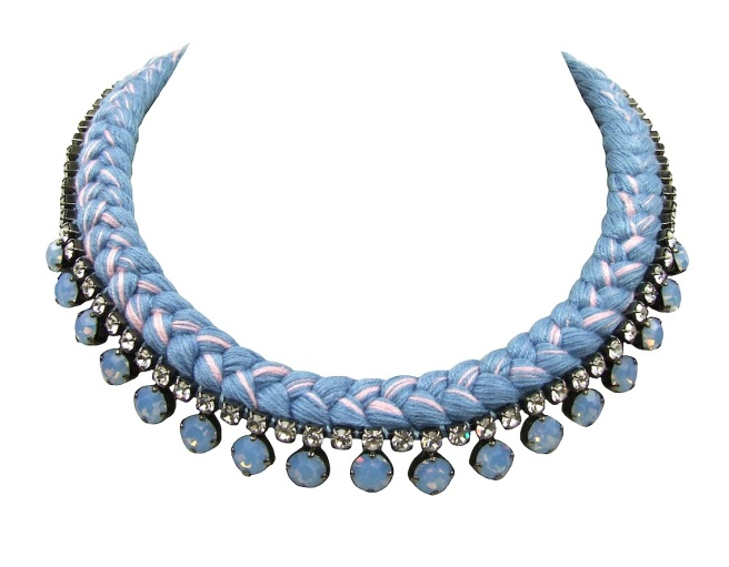 This beautiful handmade statement necklace by Jolita Jewellery is made with lavender blue silk braid, mixing in a touch of pink,  and opaque blue Swarovski crystals.