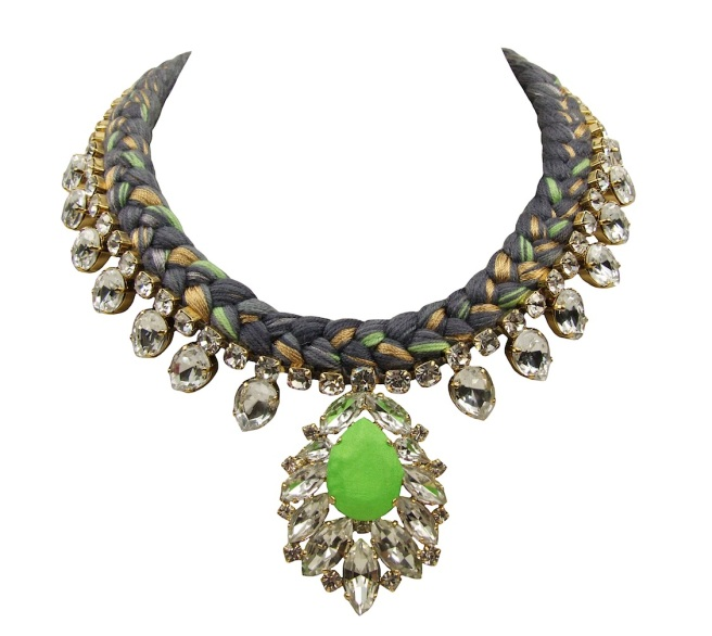 Casablanca statement necklace is made with a charcoal silk braid, mixing in a touch of metallic green and gold. The necklace is adorned with beautiful clear crystals dipped in gold, with the centre stone covered in hand-dyed silk in lime green colour.