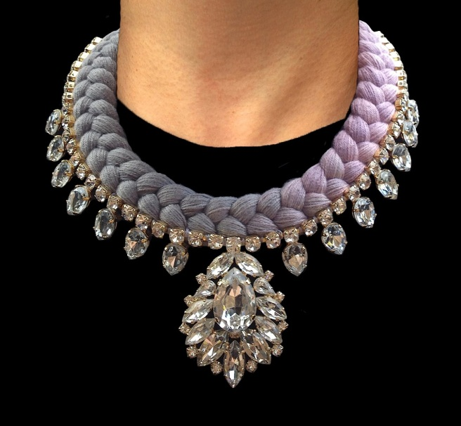Casablanca statement necklace is made in a dip-dyed silk braid in soft silver grey and lavender. The necklace is adorned with beautiful clear crystals dipped in gold.
