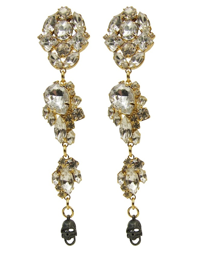 "Luxury Empress statement earrings by Jolita Jewellery, made with deconstructed clear crystals dipped in gold and embellished with ""moving jaw"" skull made of oxidised sterling silver. The earrings are made for pierced ears."