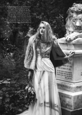 Kensington and Chelsea Magazine editorial featuring Jolita Jewellery's Manhattan necklace, made with several rows of clear crystals and a double collar charcoal silk braid.
