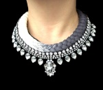 Maldives statement necklace designed by Jolita Jewellery with clear crystals and dip-dyed silk braid in cream and charcoal, hand-dyed by designer in his London studio.
