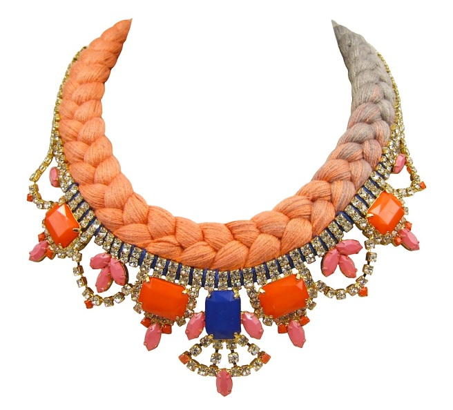 This beautiful handmade statement necklace is braided with tangerine orange and silver grey dip-dyed silk braid, hand-dyed by the designer in his London studio. The silk braid is embellished with dipped in gold clear crystal necklace. Some stones are replaced with colourful ones, some are hand-painted by the designer.