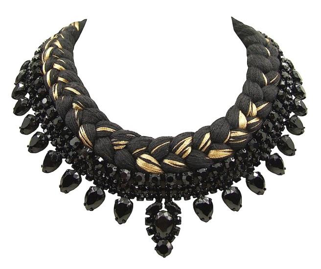 San Marino statement necklace designed by Jolita Jewellery with black crystals and black silk braid, mixing in a touch of gold, hand-dyed by designer in his London studio.