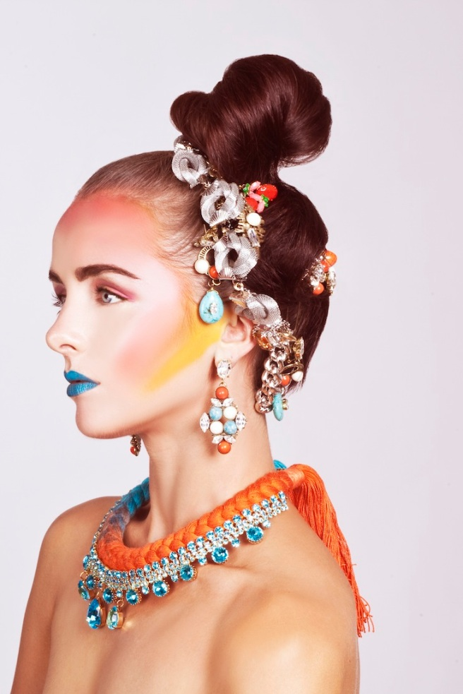 From recent beauty shoot - in our braided Capri necklace in a dip-dyed silk and aquamarine crystals and colourful Beirut statement earrings, styled as head accessories.