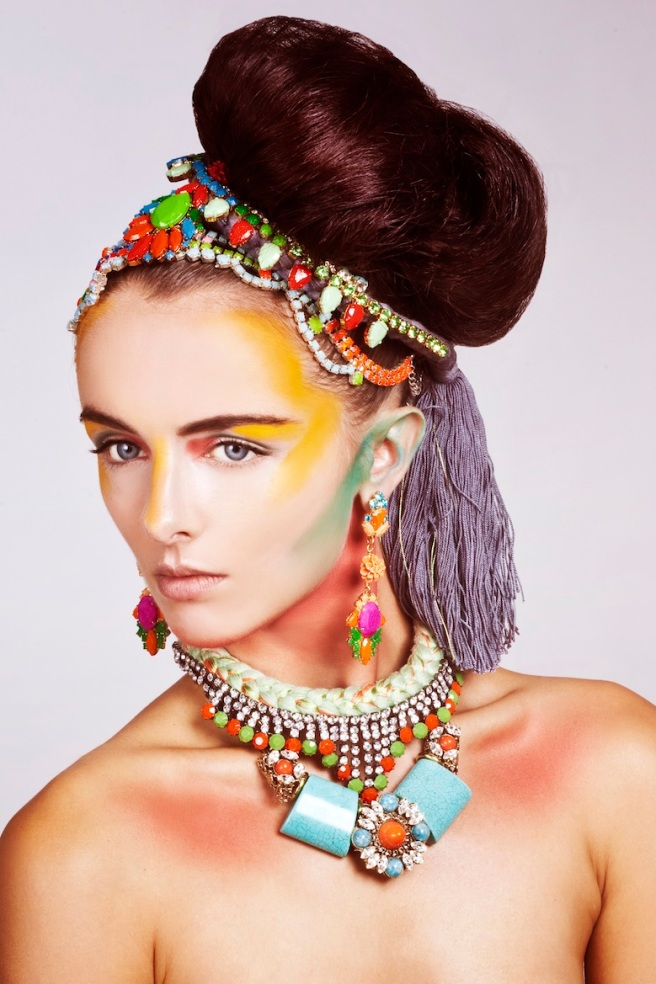 From recent beauty shoot - in our braided Monaco necklace, Kniginia fuchsia earrings and Madrid Luxe and Cpari necklaces, styled as head pieces.