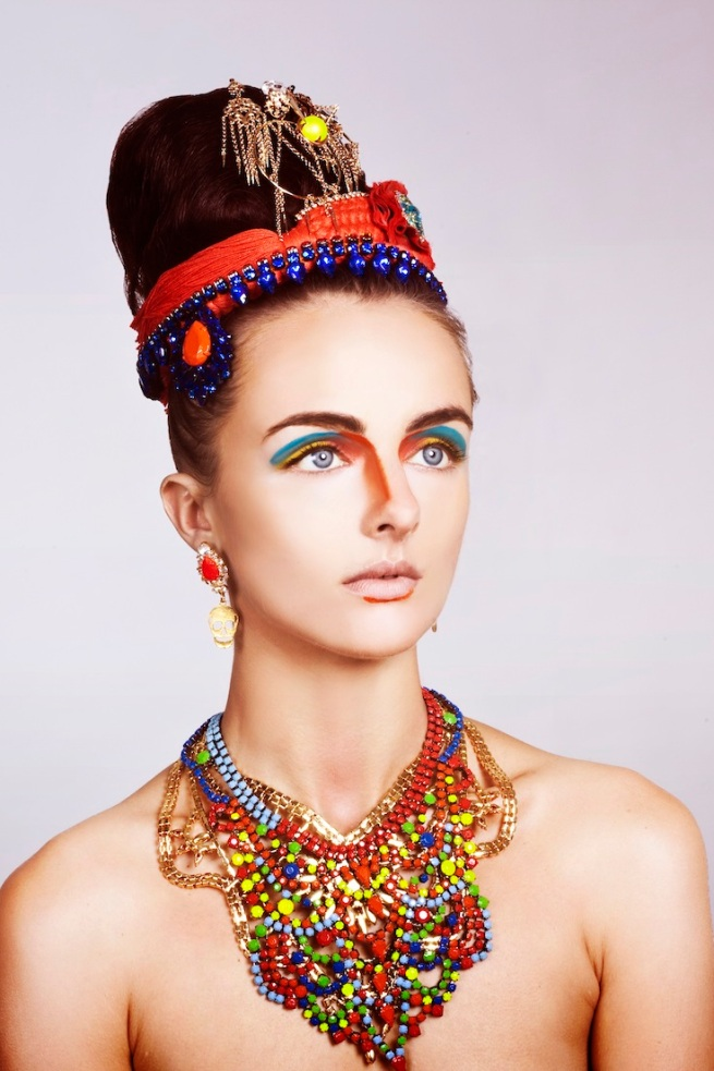 From recent beauty shoot - in our hand-painted Salvador necklace, Skull earrings and Madeira Luxe and braided cuff, styled as head pieces.